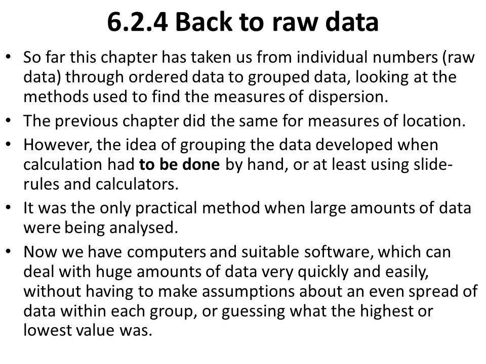 6.2.4 Back to raw data