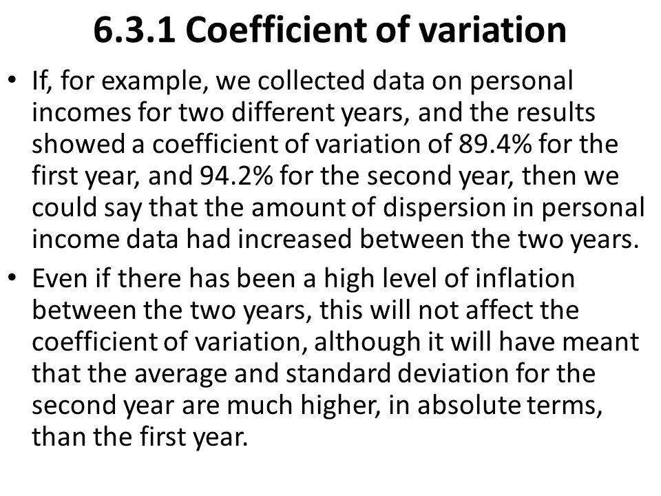 6.3.1 Coefficient of variation