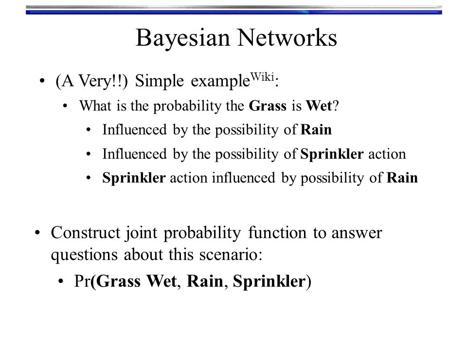 Bayesian Networks (A Very!!) Simple exampleWiki: