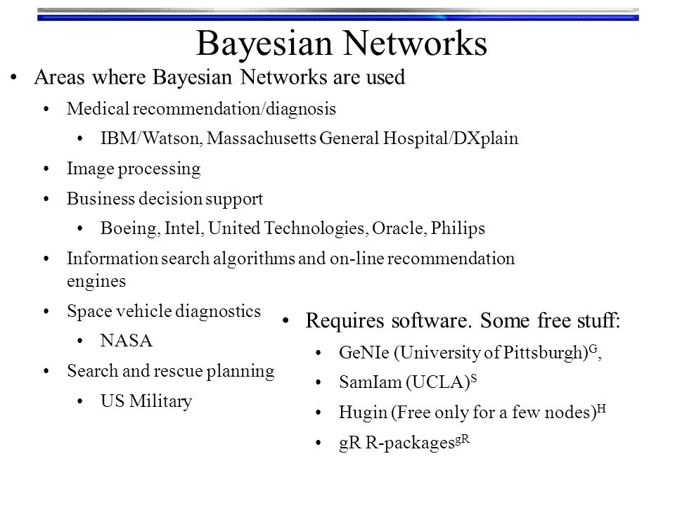 Bayesian Networks Areas where Bayesian Networks are used