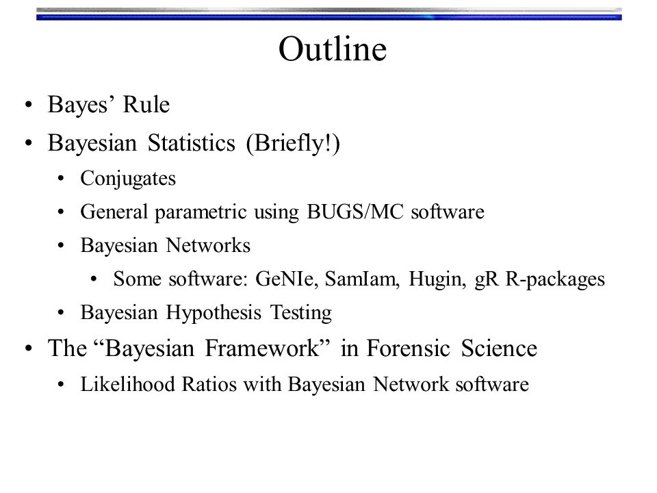 Outline Bayes' Rule Bayesian Statistics (Briefly!)