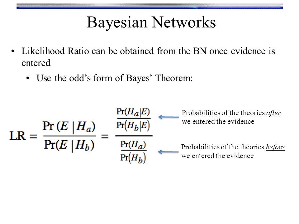 Bayesian Networks Likelihood Ratio can be obtained from the BN once evidence is entered. Use the odd's form of Bayes' Theorem: