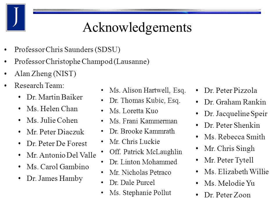Acknowledgements Professor Chris Saunders (SDSU)