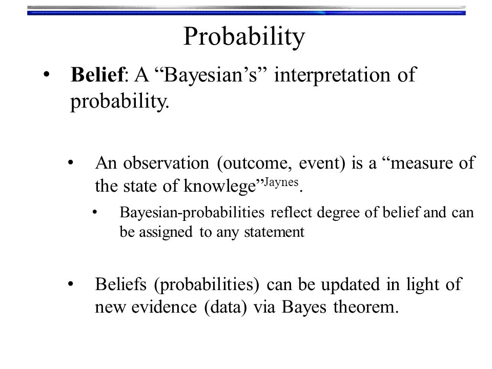Probability Belief: A Bayesian's interpretation of probability.