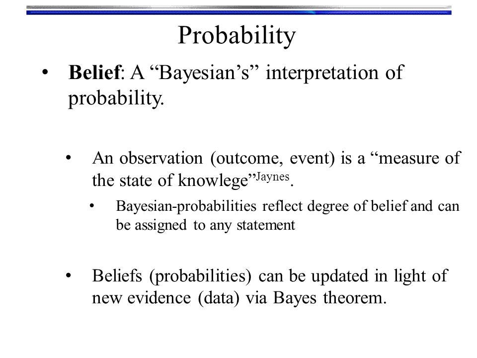 Probability Belief: A Bayesian's interpretation of probability.