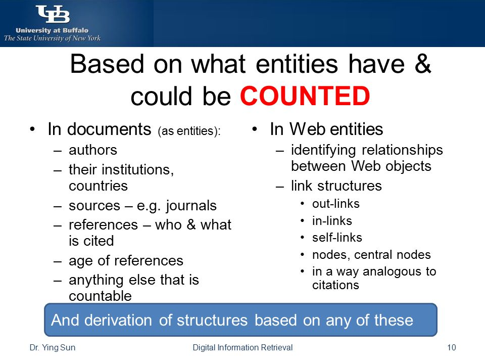 Based on what entities have & could be COUNTED