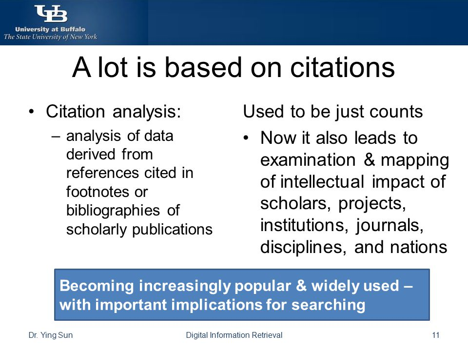 A lot is based on citations