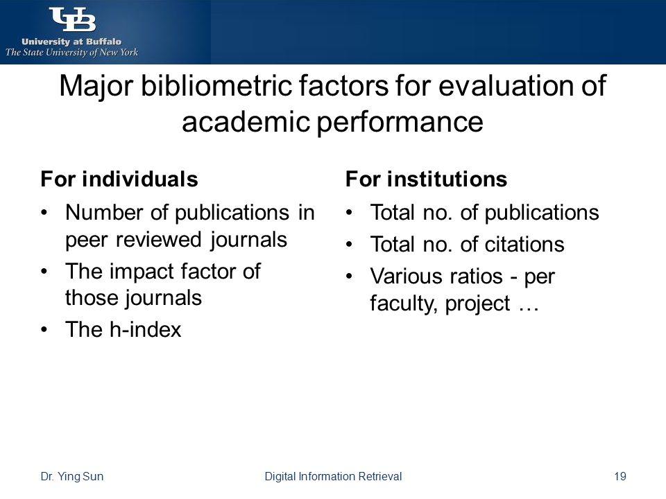 Major bibliometric factors for evaluation of academic performance