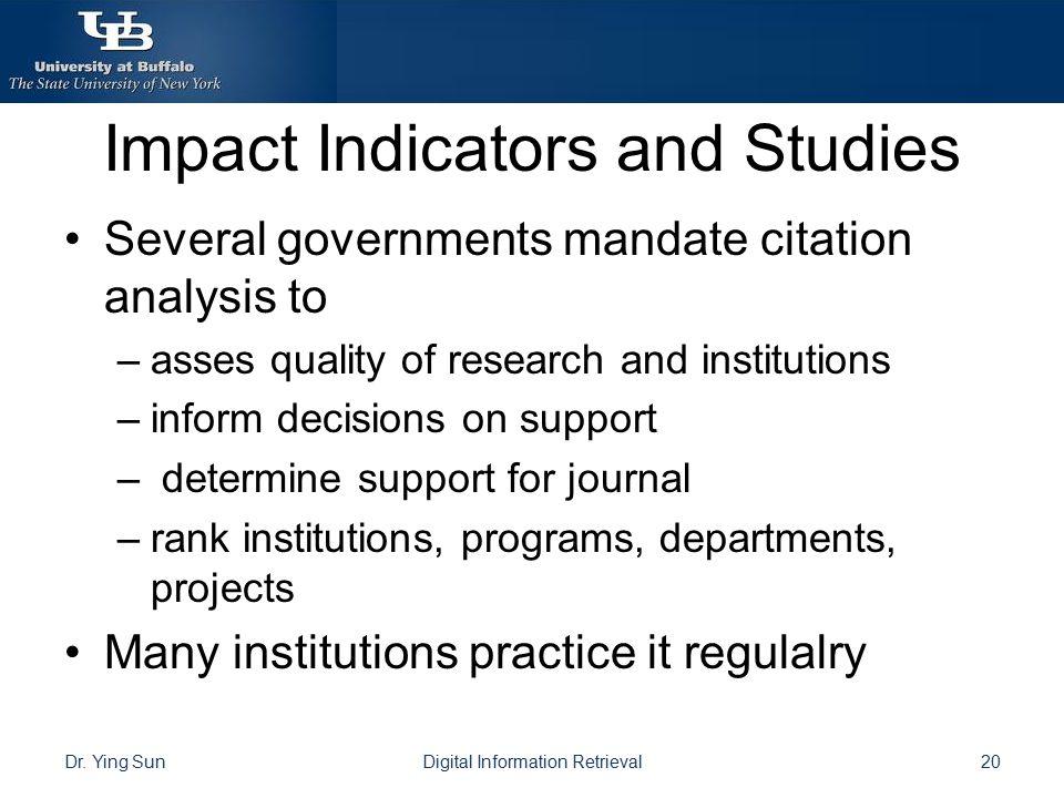 Impact Indicators and Studies