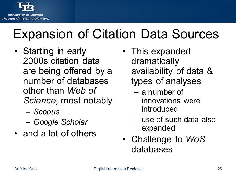 Expansion of Citation Data Sources