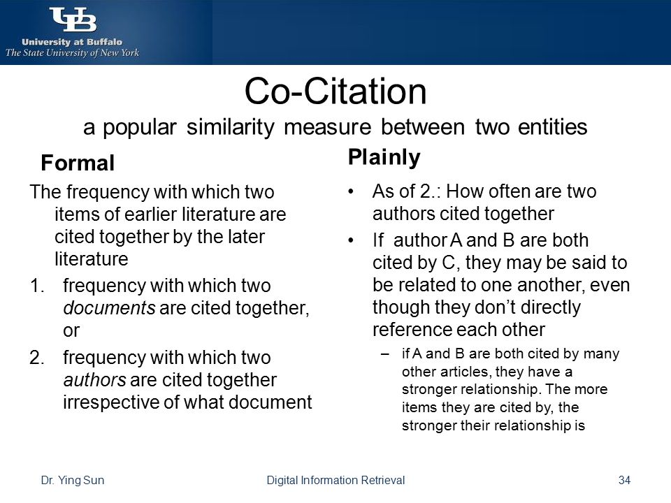 Co-Citation a popular similarity measure between two entities