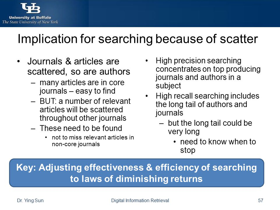 Implication for searching because of scatter