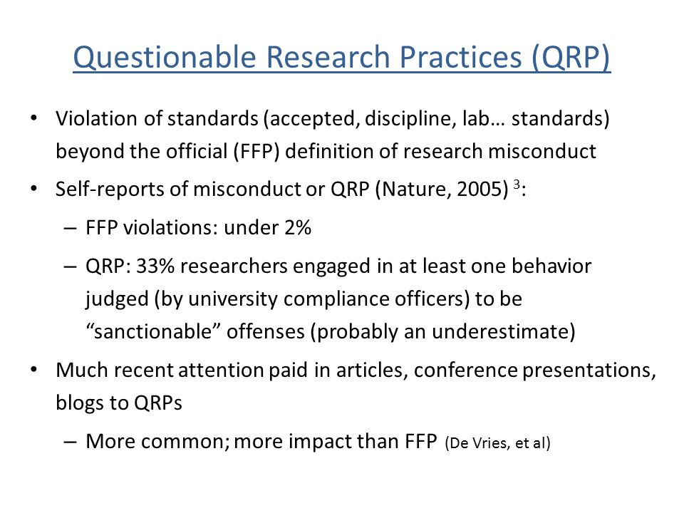 Questionable Research Practices (QRP)