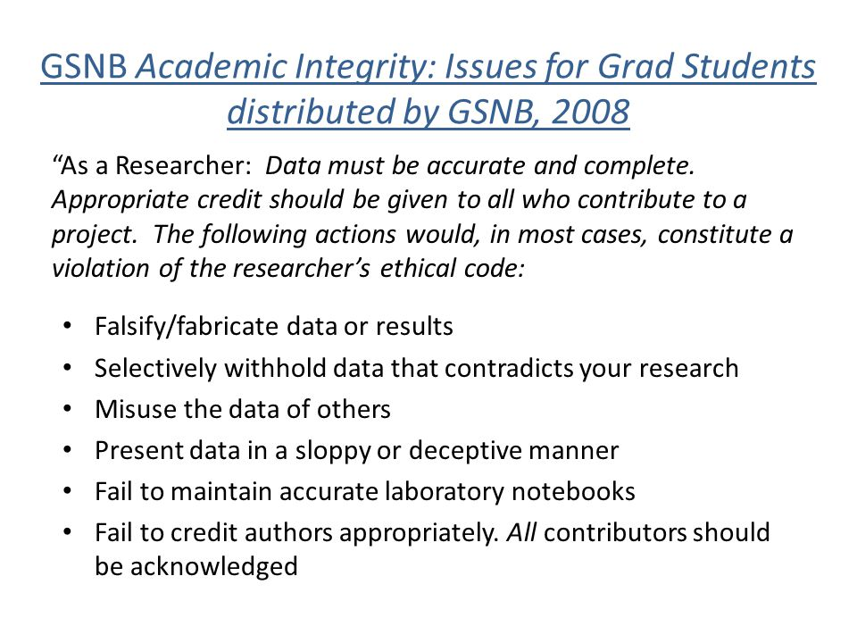 GSNB Academic Integrity: Issues for Grad Students distributed by GSNB, 2008