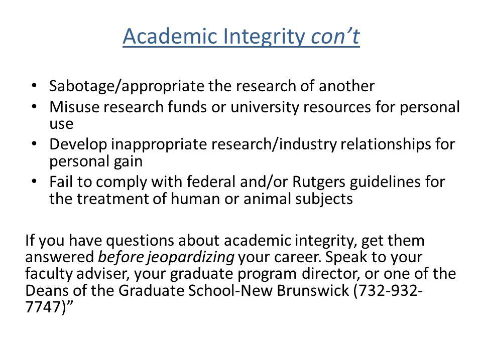 Academic Integrity con't