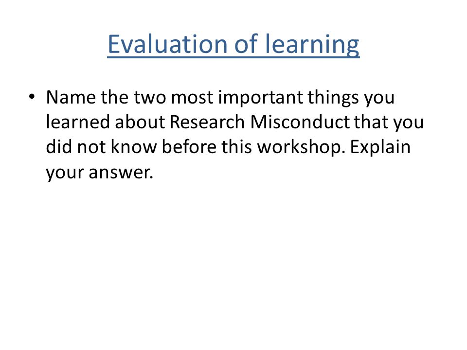 Evaluation of learning