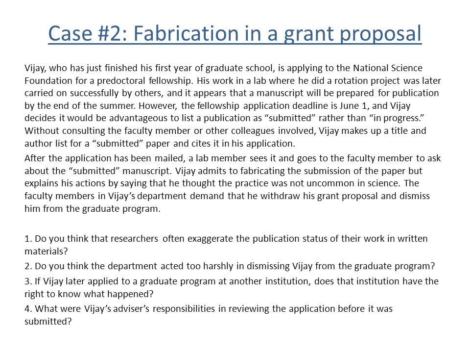 Case #2: Fabrication in a grant proposal