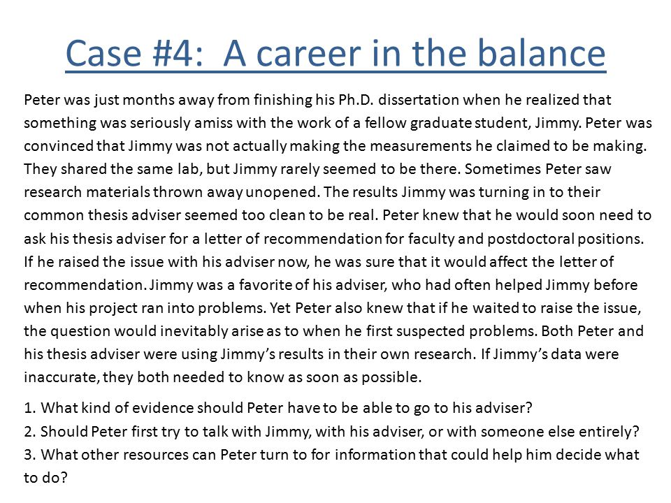 Case #4: A career in the balance