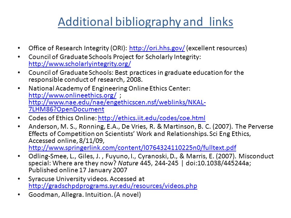 Additional bibliography and links