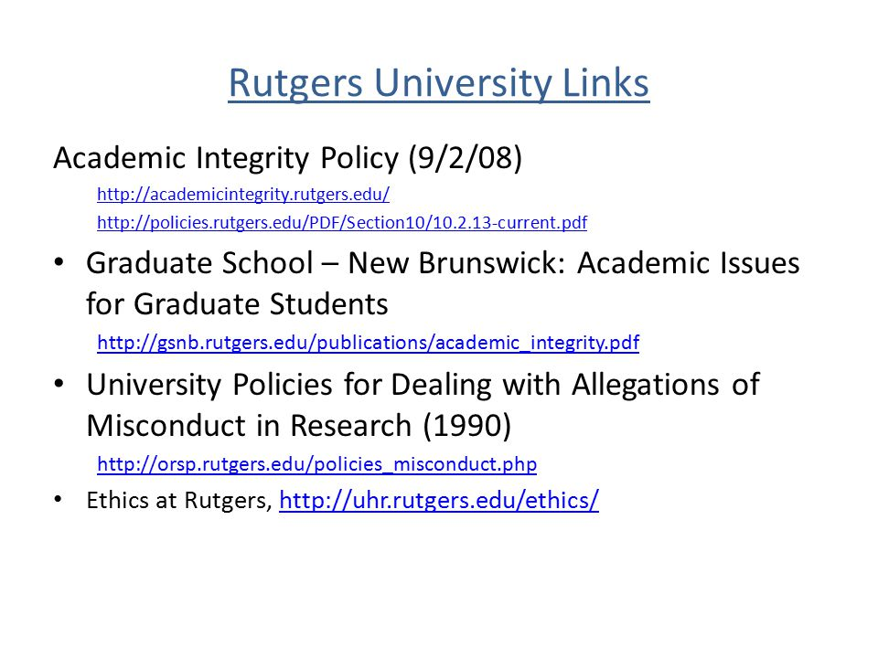 Rutgers University Links