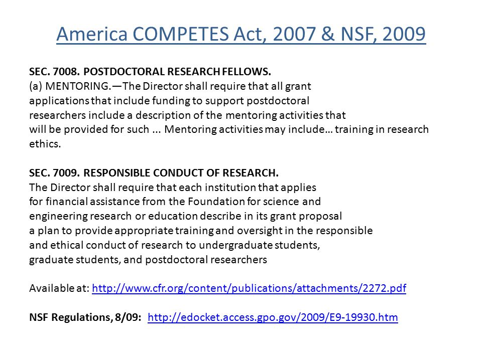 America COMPETES Act, 2007 & NSF, 2009