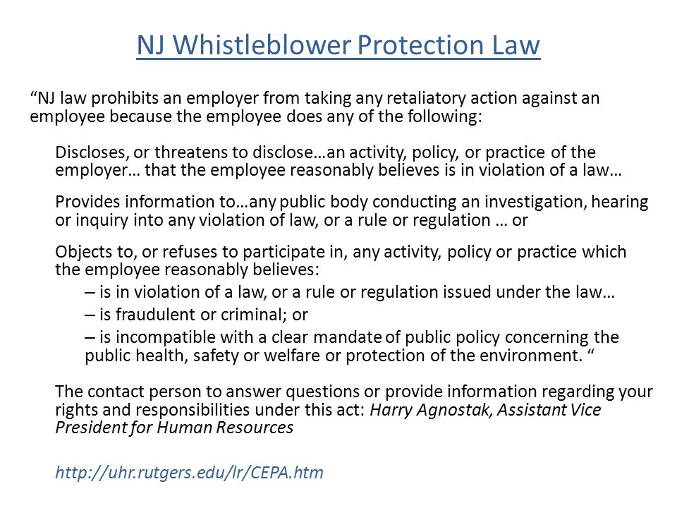 NJ Whistleblower Protection Law
