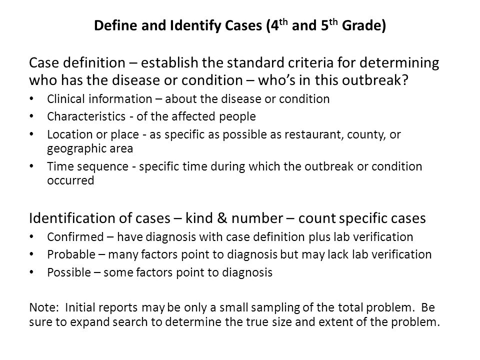 Define and Identify Cases (4th and 5th Grade)