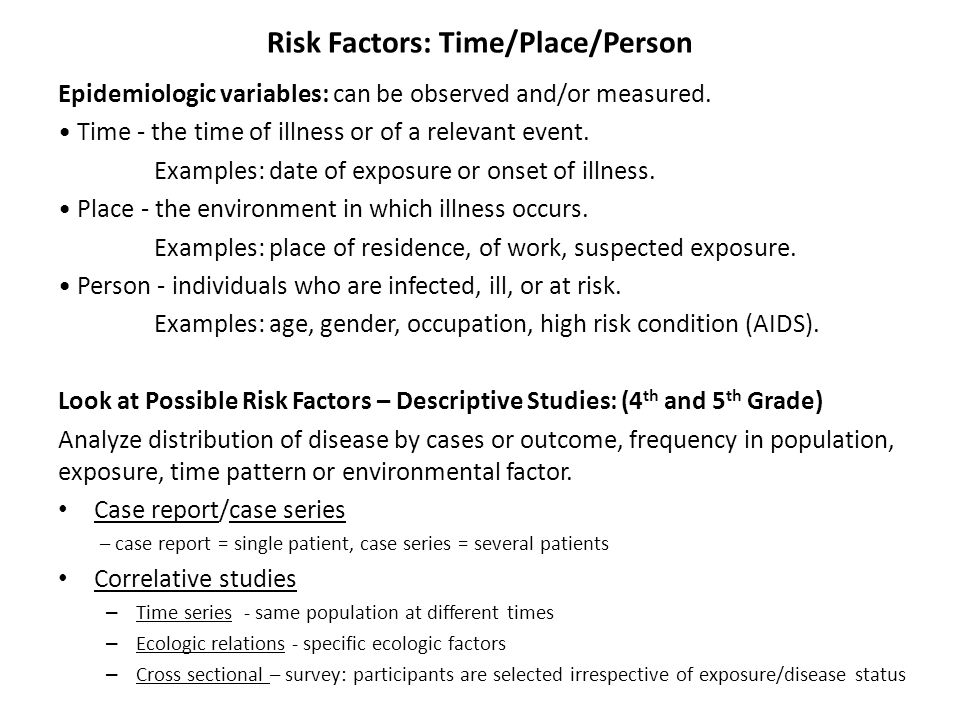 Risk Factors: Time/Place/Person