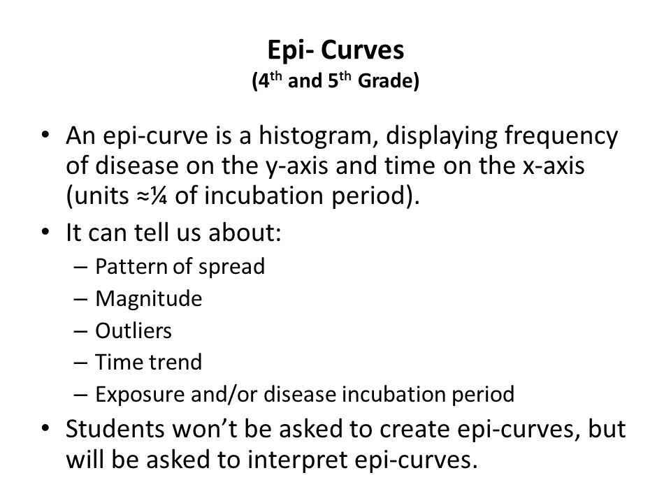 Epi- Curves (4th and 5th Grade)