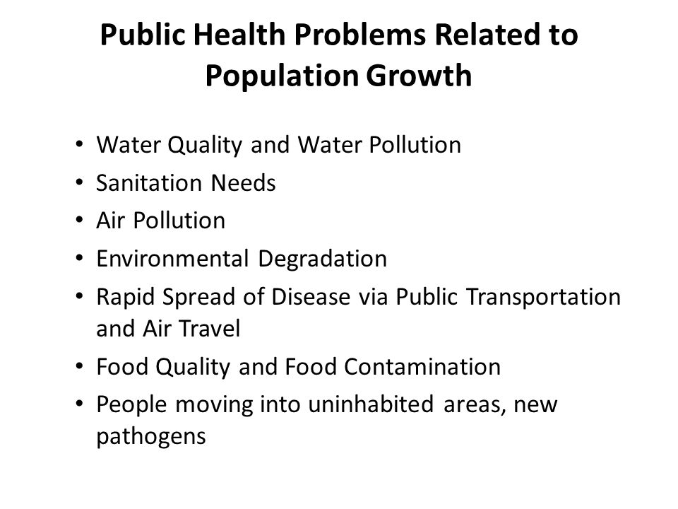 Public Health Problems Related to Population Growth