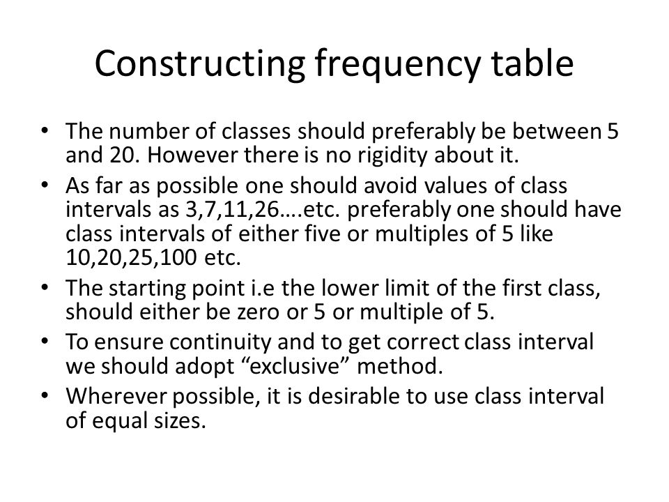 Constructing frequency table