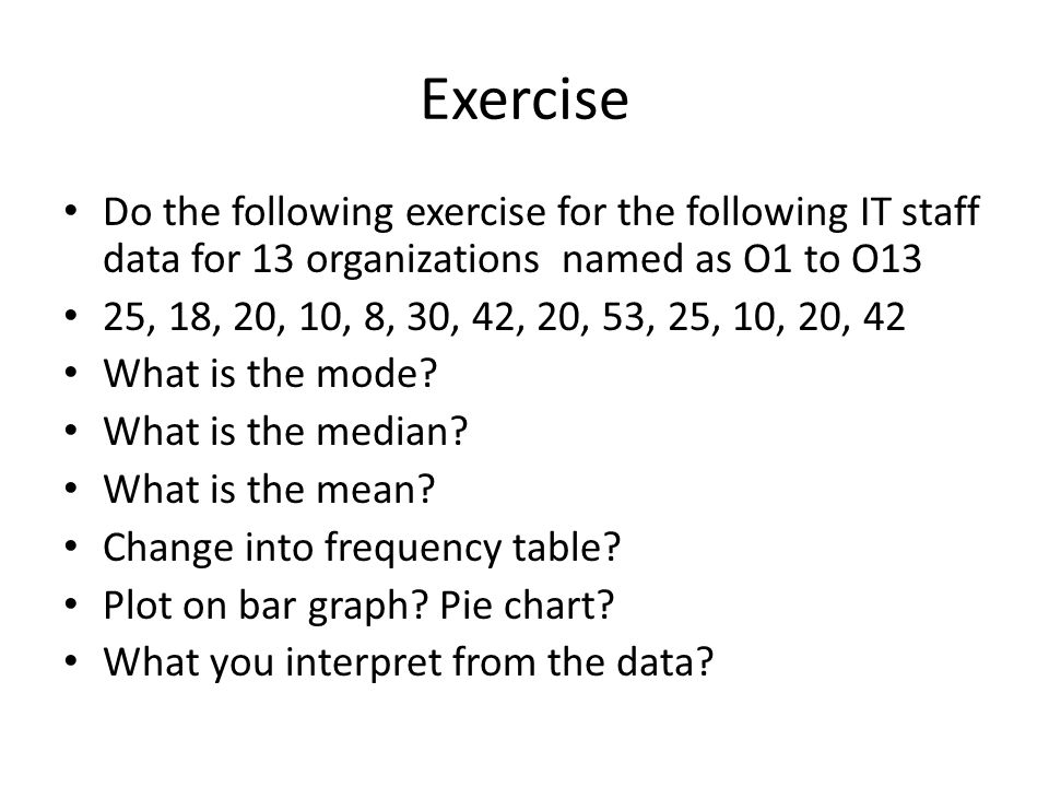 Exercise Do the following exercise for the following IT staff data for 13 organizations named as O1 to O13.