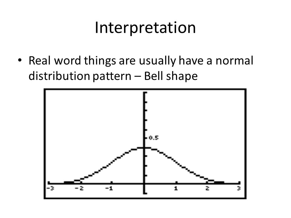 Interpretation Real word things are usually have a normal distribution pattern – Bell shape
