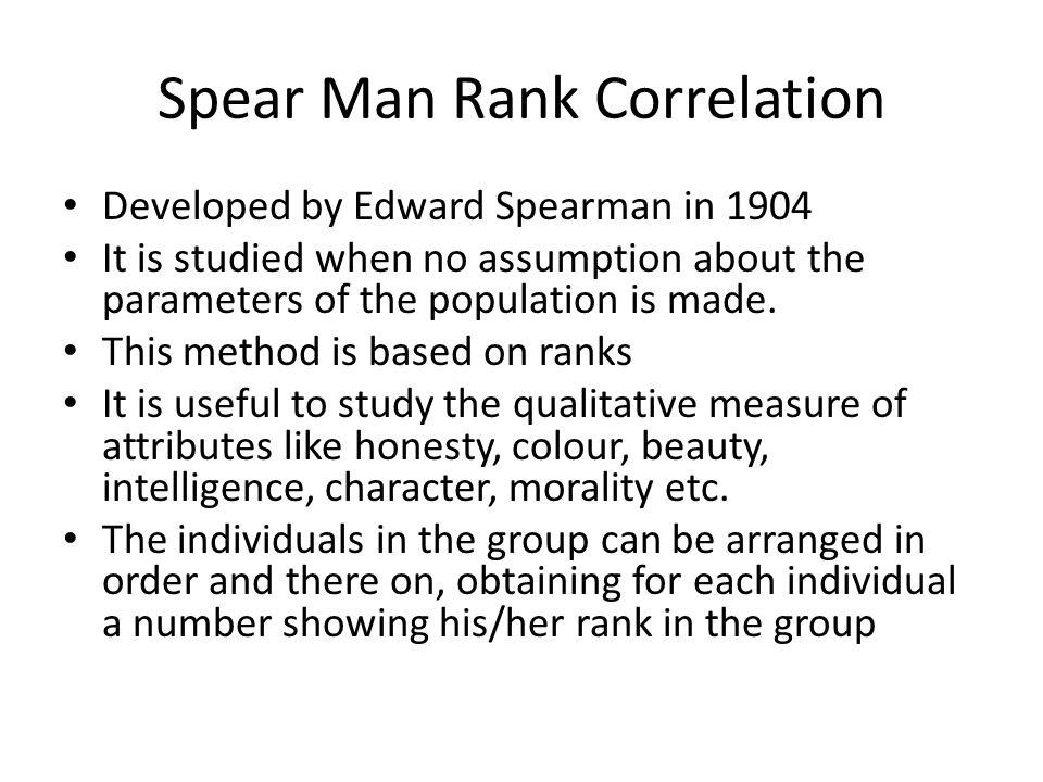 Spear Man Rank Correlation