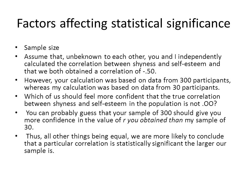 Factors affecting statistical significance