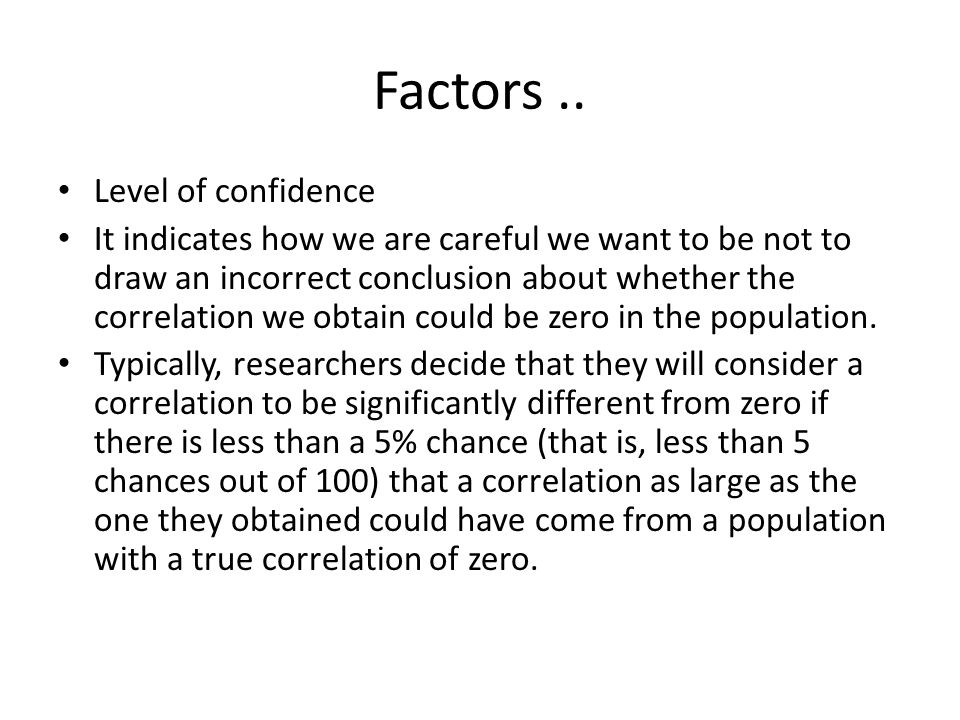 Factors .. Level of confidence