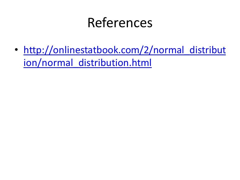 References http://onlinestatbook.com/2/normal_distribution/normal_distribution.html