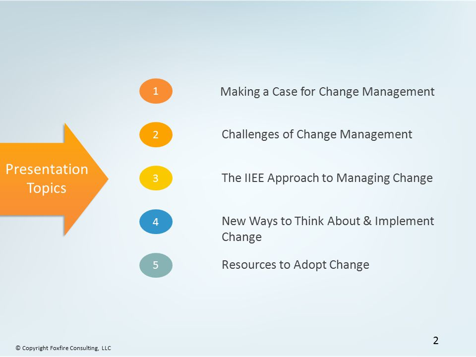 Presentation Topics Making a Case for Change Management
