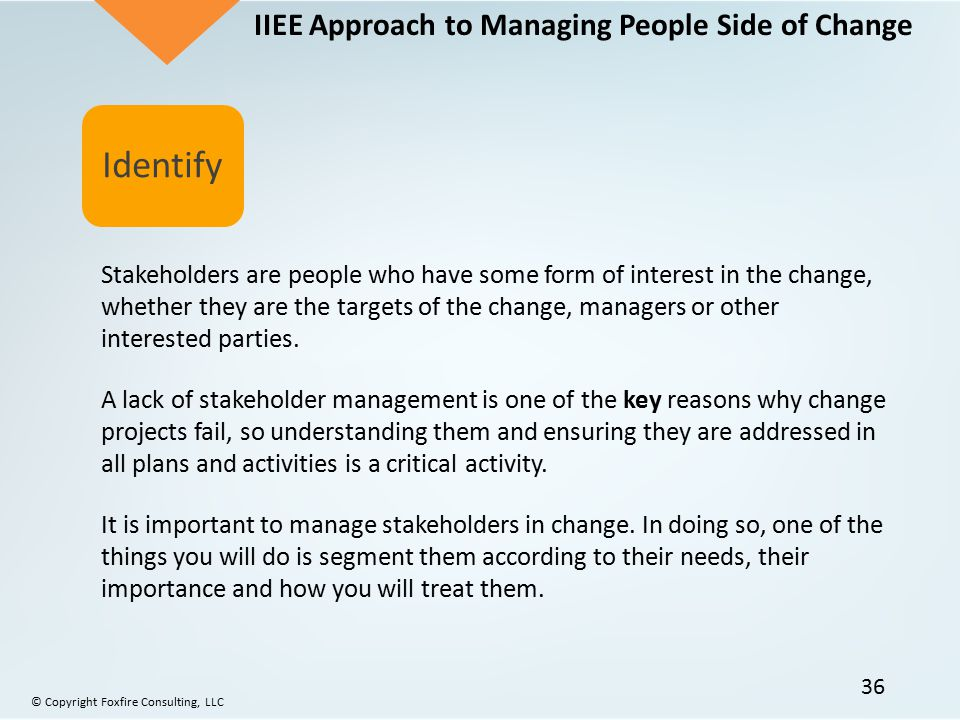 Identify IIEE Approach to Managing People Side of Change