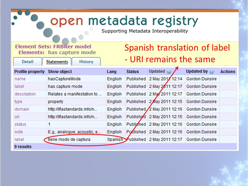 Spanish translation of label