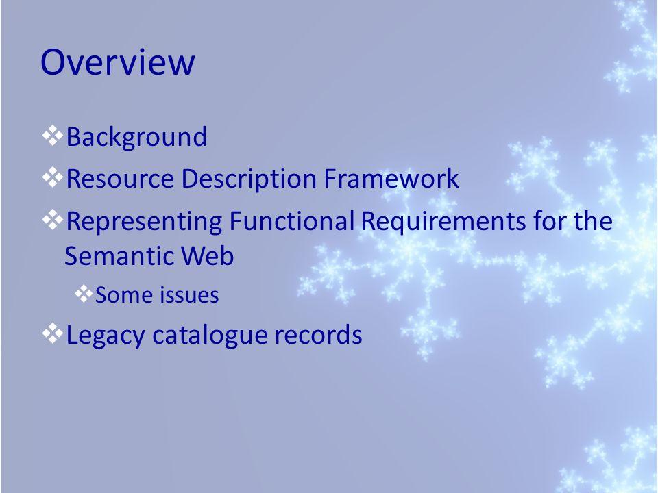 Overview Background Resource Description Framework