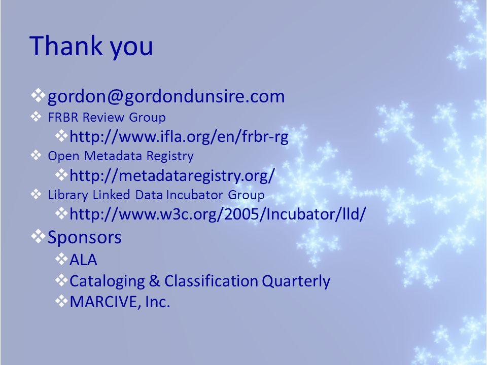 Thank you gordon@gordondunsire.com Sponsors
