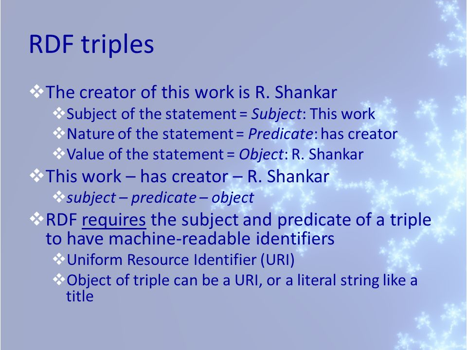 RDF triples The creator of this work is R. Shankar