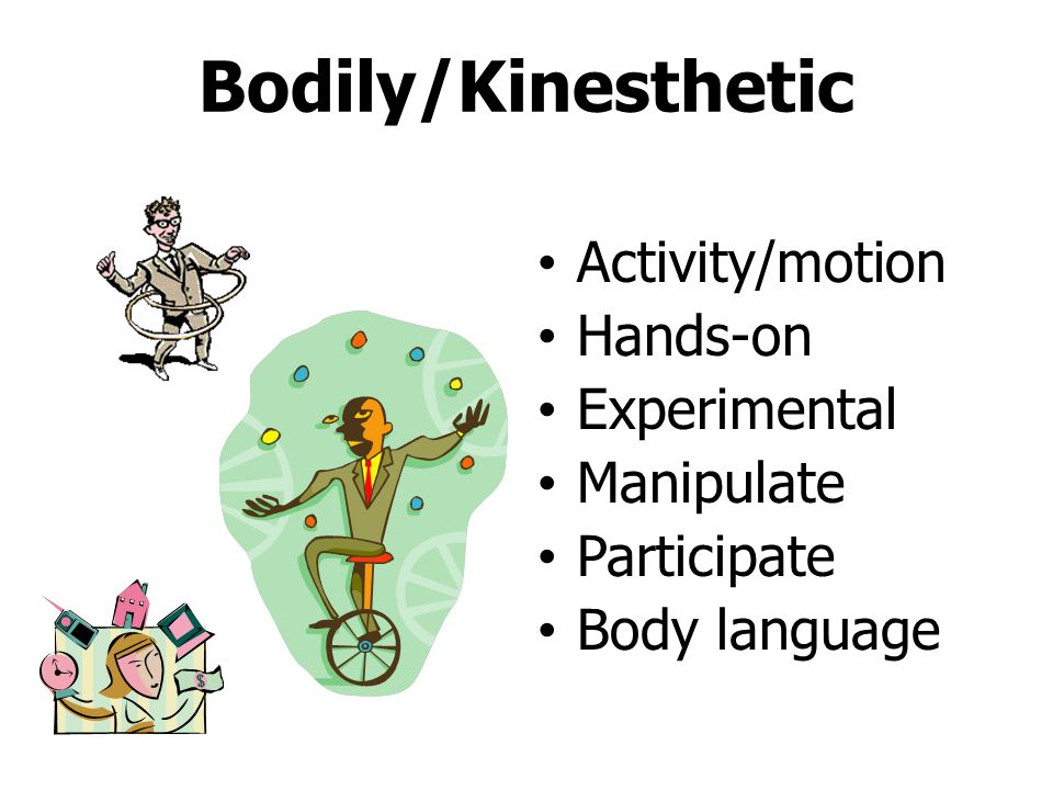 Bodily/Kinesthetic Activity/motion Hands-on Experimental Manipulate