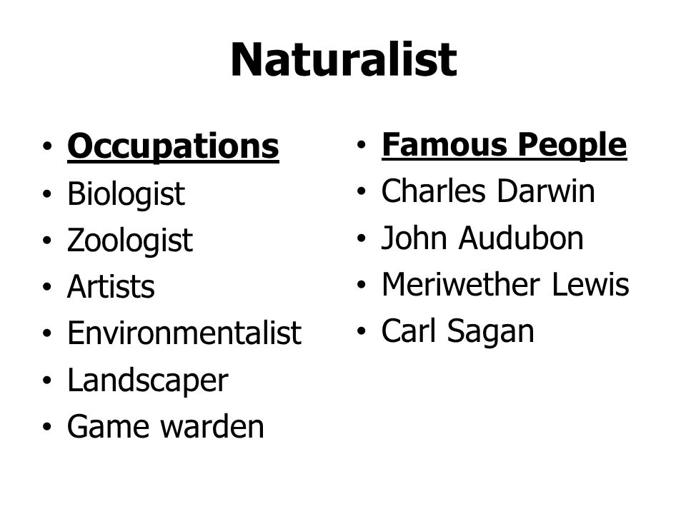 Naturalist Occupations Famous People Biologist Charles Darwin