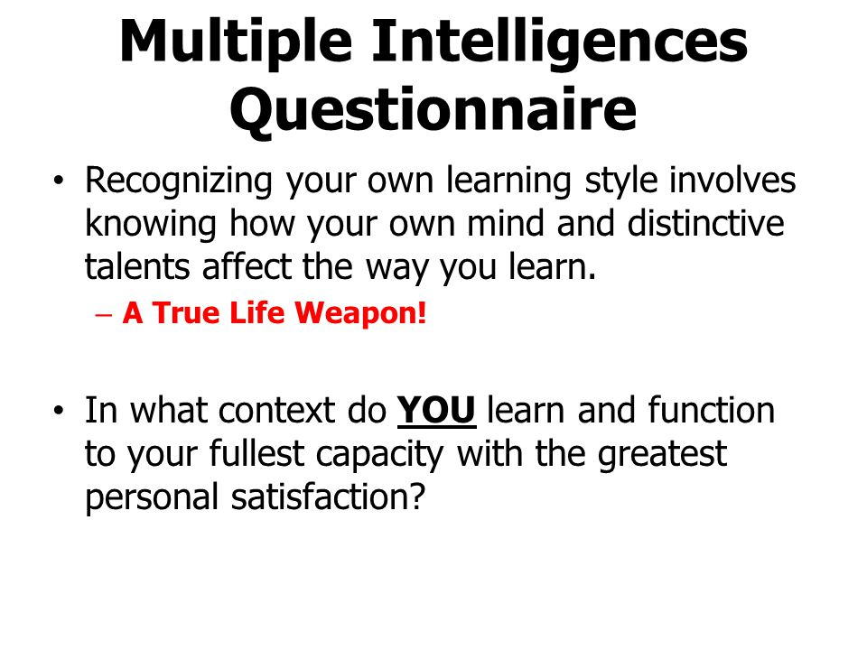 Multiple Intelligences Questionnaire