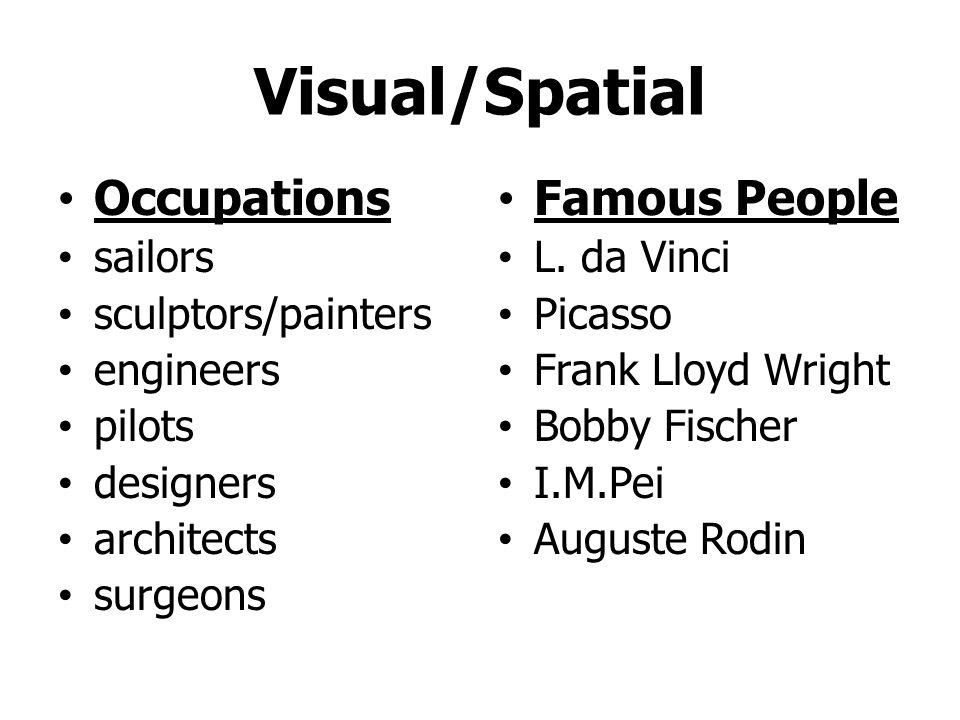 Visual/Spatial Occupations Famous People sailors sculptors/painters
