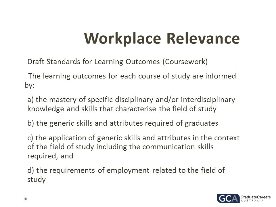 Workplace Relevance Draft Standards for Learning Outcomes (Coursework)