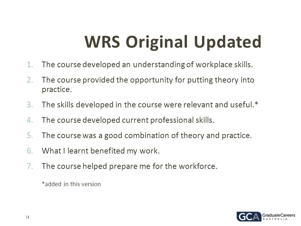 WRS Original Updated The course developed an understanding of workplace skills.