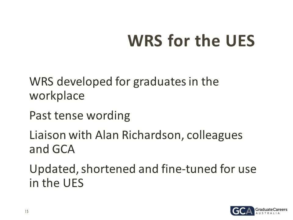 WRS for the UES WRS developed for graduates in the workplace